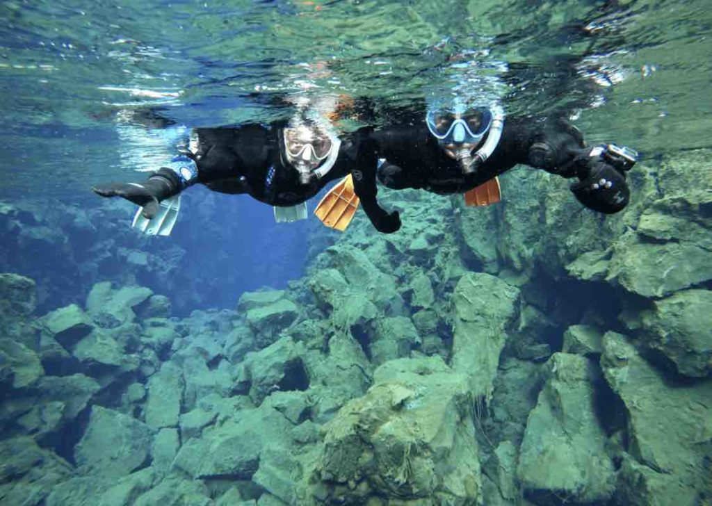 Snorkelling in Silfra Fissure, Iceland